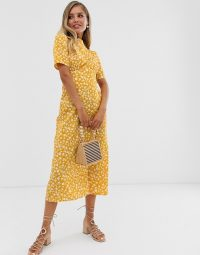 ASOS DESIGN midi tea dress with buttons in floral print in mustard | yellow vintage style dresses