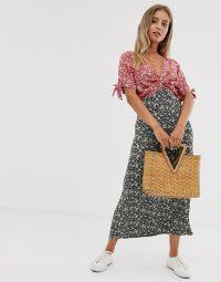 ASOS DESIGN mixed floral print twist front midi tea dress | feminine vintage style fashion