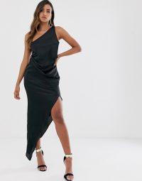 ASOS DESIGN one shoulder drape midi dress in black satin | asymmetric party dresses | LBD