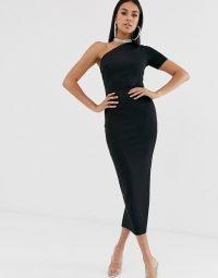 ASOS DESIGN one shoulder minimal bandage midaxi dress in black | LBD
