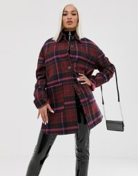 ASOS DESIGN oversized check jacket with quilted liner in pink