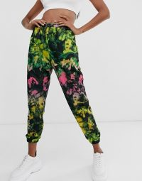 ASOS DESIGN oversized jogger in tie dye print with hot fix / cuffed pants
