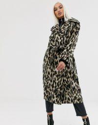 ASOS DESIGN oversized leopard belted coat