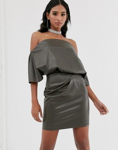 ASOS DESIGN PU drape shoulder mini dress in khaki | bardot party dresses