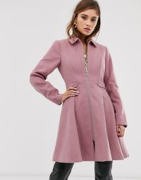 ASOS DESIGN swing coat with zip front in pink ~ fit and flare coats