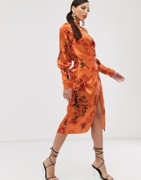 ASOS DESIGN Tall long sleeve midi dress in satin with drape detail in blossom floral print in orange