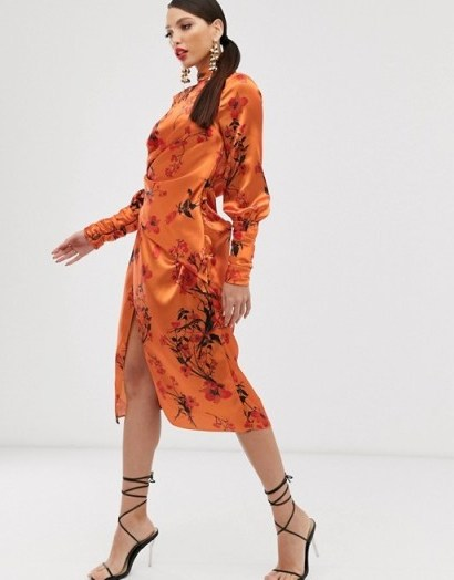 ASOS DESIGN Tall long sleeve midi dress in satin with drape detail in blossom floral print in orange - flipped