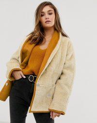 ASOS DESIGN teddy coat with shawl collar in cream / borg coats / textured