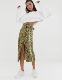 ASOS DESIGN vinyl pencil skirt with belt bag | snake print skirts