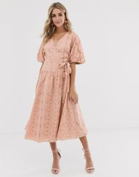 ASOS DESIGN wrap midi dress with puff sleeves in broderie in mink | side tie fit and flare