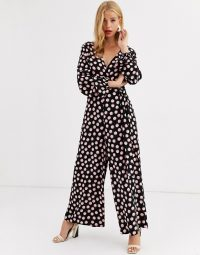 ASOS DESIGN wrap tie jumpsuit in pink spot print / floaty wide leg jumpsuits