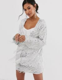 ASOS EDITION sequin fringe co-ord in silver / shimmering jacket and mini skirt set