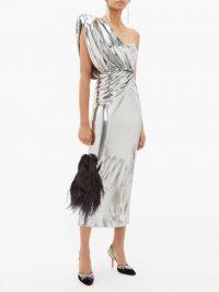THE ATTICO Asymmetric metallic-silver midi dress | ultimate party glamour