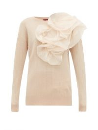SIES MARJAN Awa silk-organza rosette wool-blend sweater ~ statement knitwear