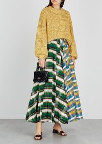 A.W.A.K.E MODE Duncan checked cotton maxi skirt ~ full pleated skirts