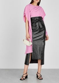 A.W.A.K.E MODE Susan black patent faux leather midi skirt ~ contemporary pencil skirts