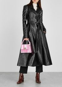 A.W.A.K.E MODE Trinity black patent faux leather coat ~ chic belted fit and flare coats