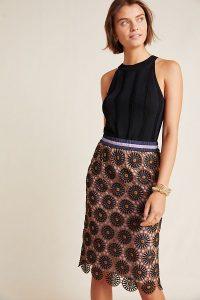 Current Air Loire Lace Pencil Skirt Brown Motif