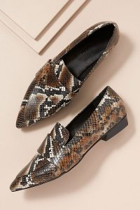 Elvio Zanon Snake-Effect Leather Loafers Brown