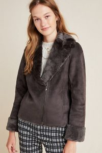 Seen Worn Kept Evita Faux-Fur Aviator Jacket in Grey