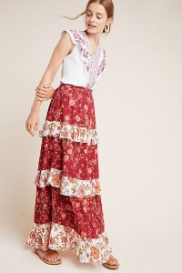 Farm Rio for Anthropologie Portia Tiered Skirt in Wine