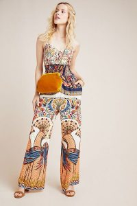 Farm Rio for Anthropologie Zadar Halter Jumpsuit. BOLD PRINTED JUMPSUITS