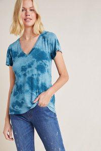 Maeve Iliana Garment-Dyed Tee Blue Motif | V-neck T-shirts