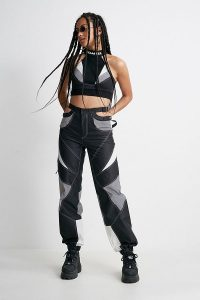 NAMILIA Motocross Bumster Reflective Silver Trousers ~ cuffed hem pants