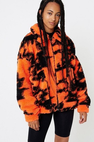 Jaded London Flame Teddy Jacket ~ oversized bright fluffy jackets - flipped