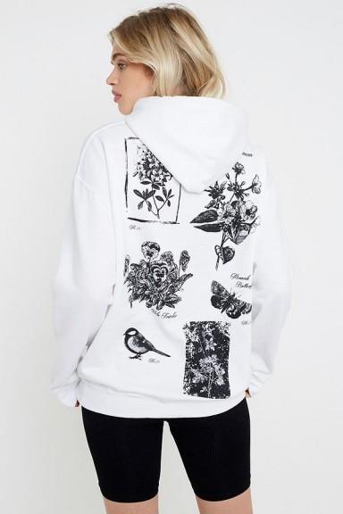 UO Floral Skate Hoodie in White ~ printed pullover hoodies