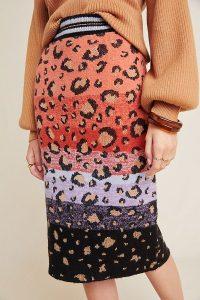 Maeve Leopard Sweater-Knit Pencil Skirt / patterned knitwear