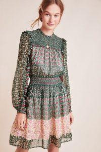 ANTHROPOLOGIE Rhiannon Floral Midi Dress Green Motif / smocked fashion