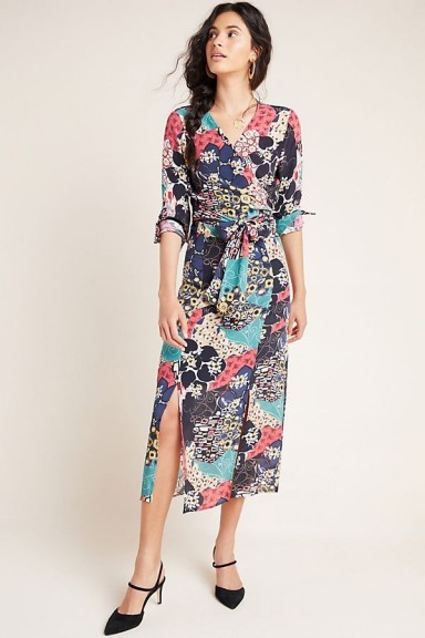 Kachel Hallie Abstract Floral Midi Skirt / double front slit skirts