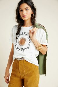 ANTHROPOLOGIE Grateful For Every Little Thing Graphic Tee / slogan t-shirt