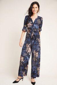 Kachel Serina Floral-Print Jumpsuit / tie waist jumpsuits