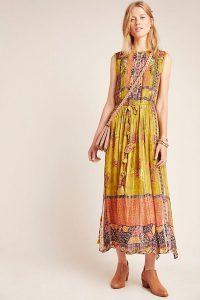 Bhanuni by Jyoti Citron Embroidered Maxi Dress in Guacamole