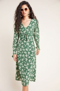Kachel Saiorse Floral Midi Dress Green Motif / vintage look fashion