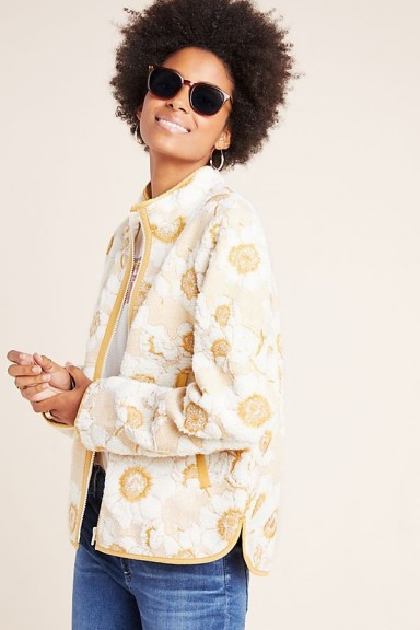 ANTHROPOLOGIE Tilly Embroidered Sherpa Jacket in Cream ~ floral jackets