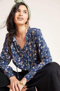 Kachel Alexandra Blouse Blue Motif / floral tie neck blouses