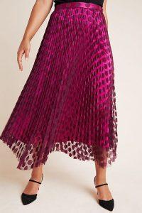 ANTHROPOLOGIE Phoebe Pleated Midi Skirt Purple Motif / dot overlay skirts