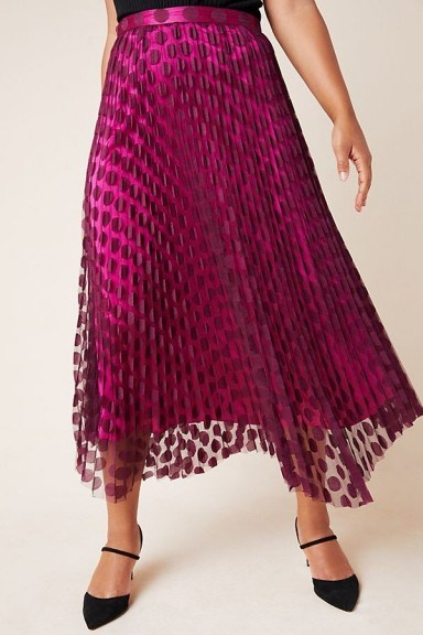 ANTHROPOLOGIE Phoebe Pleated Midi Skirt Purple Motif / dot overlay skirts - flipped
