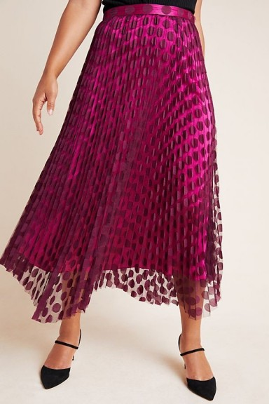 ANTHROPOLOGIE Phoebe Pleated Midi Skirt Purple Motif / dot overlay skirts