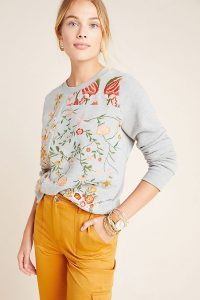 Maeve Bae Embroidered Sweatshirt in Grey / floral embroidery