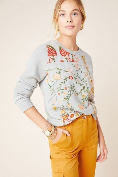 Maeve Bae Embroidered Sweatshirt in Grey / floral embroidery - flipped