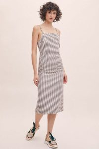 Rita Row Gingham Midi Dress in Brown
