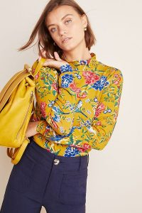 Anthropologie Knitted Floral Turtleneck in Gold
