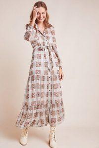ANTHROPOLOGIE Elisabeth Shirtdress / frill hem shirt dress