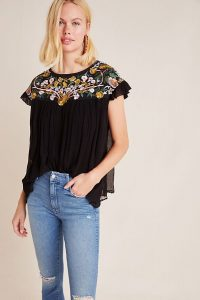 Seen Worn Kept Bethany Embroidered Blouse in Black / pretty flutter sleeve blouses