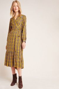ANTHROPOLOGIE Dalton Wrap Maxi Dress Yellow Motif