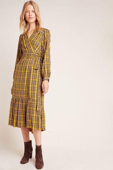 ANTHROPOLOGIE Dalton Wrap Maxi Dress Yellow Motif